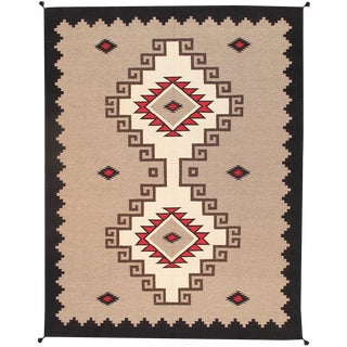 Contemporary Navajo Style Wool Area Rug - 5′2″ × 6′10″ For Sale