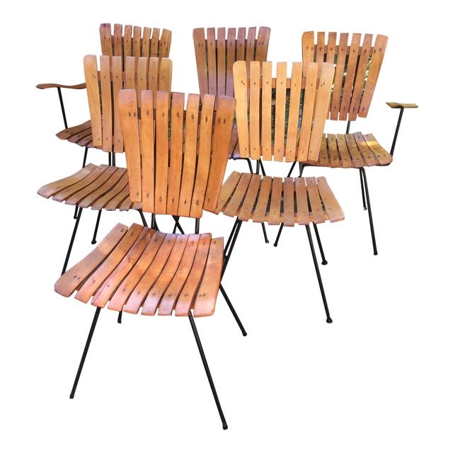 1950s Vintage Umanoff Slat Dining Chairs- Set of 6 For Sale