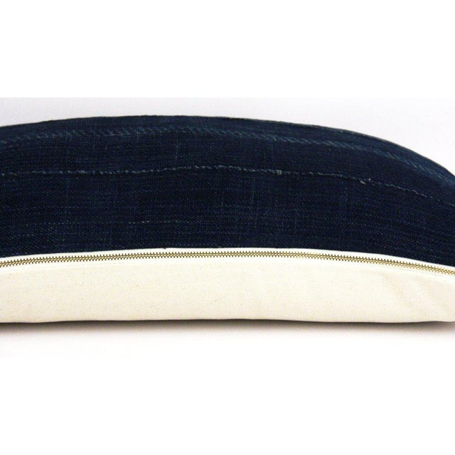 African Double Blue Striped African Mudcloth Small Lumbar Pillow For Sale - Image 3 of 4