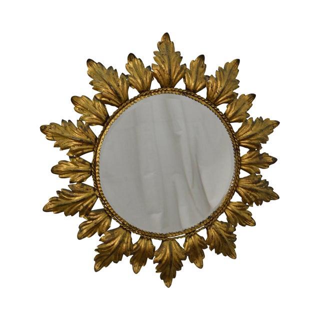 Hollywood Regency Mid century Gold Gilt Metal Starburst Wall Mirror - Image 2 of 11