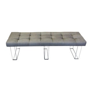 Infinity Style Grey Velvet and Lucite Bench