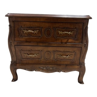 Italian Mid Century Highly Carved Beechwood Chest With Two Drawers For Sale