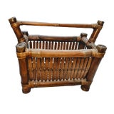 Image of Restored 1940s Vintage Burnt Tortoise Bamboo Hand Crafted Rustic Magazine Rack For Sale