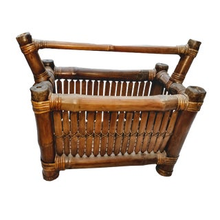 Restored 1940s Vintage Burnt Tortoise Bamboo Hand Crafted Rustic Magazine Rack For Sale