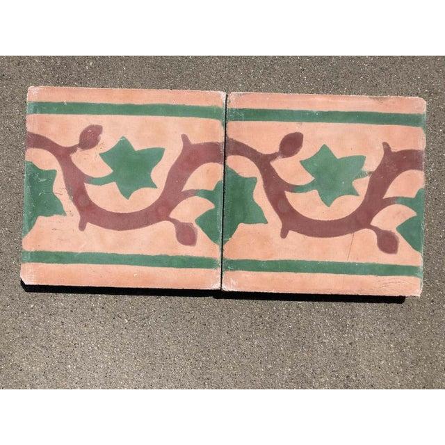 Terra Cotta Moroccan Encaustic Cement Tile Sample For Sale - Image 8 of 9