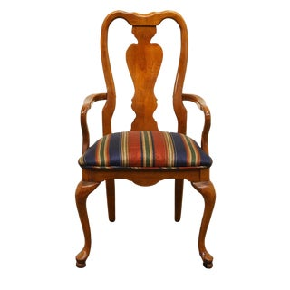 20th Century Queen Anne Style Dining Arm Chair For Sale