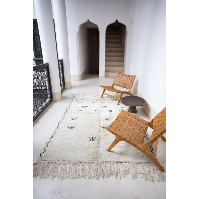 "Tribal ""Symbol"" White Moroccan Berber Rug With Brown Tribal Symbols - 8'7"" X 5'2"" For Sale - Image 3 of 13"