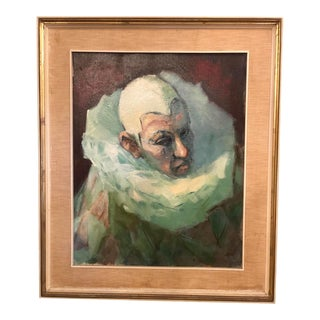Mid 20th Century French Oil Painting of a Pierrot Clown For Sale
