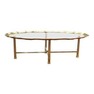 Labarge Hollywood Regency Oval Coffee table With Scalloped Edge For Sale