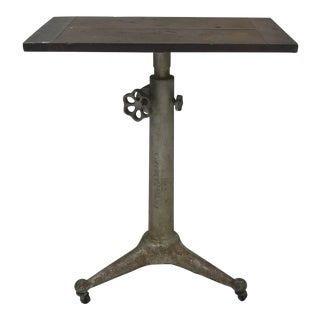 1940s Industrial Cast Iron and Oak Table With Casters