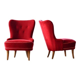Pair of Midcentury Swedish Slipper Chairs in Mahogany and Red Velvet, Circa 1950 For Sale
