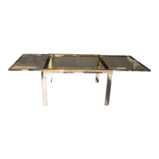 Milo Baughman Mid-Century Dual Tone Smoked Glass Top Extension Dining Table For Sale