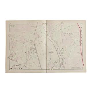 Antique Woburn Massachusetts Atlas Map Plate I