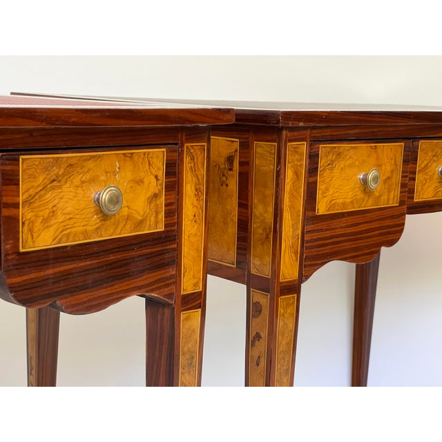 Mid 20th Century Pair of Italian Burl Wood Writing Tables For Sale - Image 5 of 13