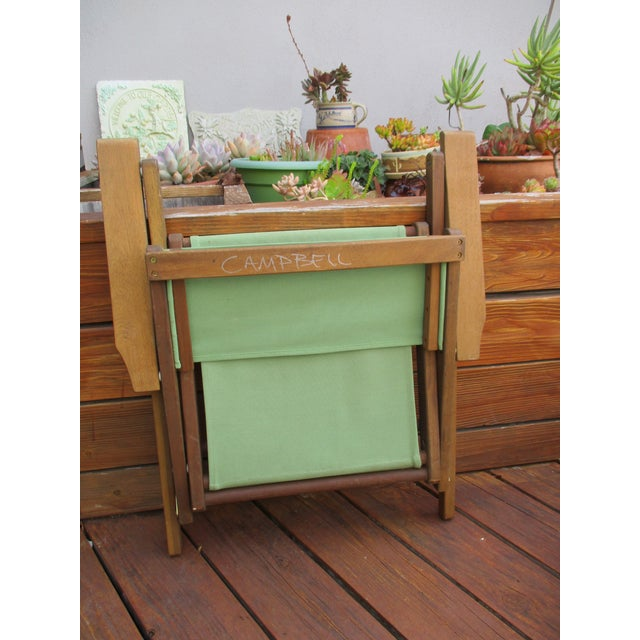 Vintage Teak Folding Canvas Chairs - A Pair For Sale - Image 5 of 10