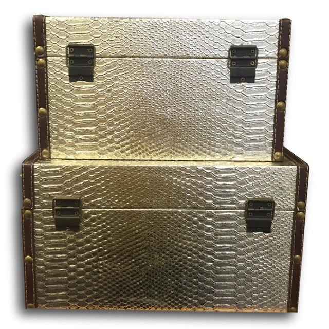 Gold Faux-Snakeskin Nesting Boxes - A Pair - Image 3 of 6