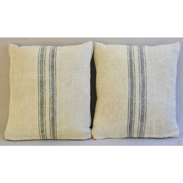 Custom French Gray Stripe Gain Sack Feather/Down Pillows - Pair - Image 3 of 8