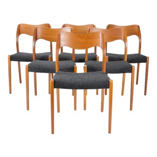1960s Vintage Niels Moller Model #71 Teak Dining Chairs- Set of 6 For Sale
