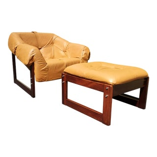 A Brazilian Mid-Century Modern Percival Lafer Mp 091 Lounge Chair and Ottoman For Sale