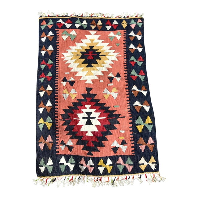 Vintage Hand Knotted Traditional Southwestern Style Anatolian Kilim Rug For Sale