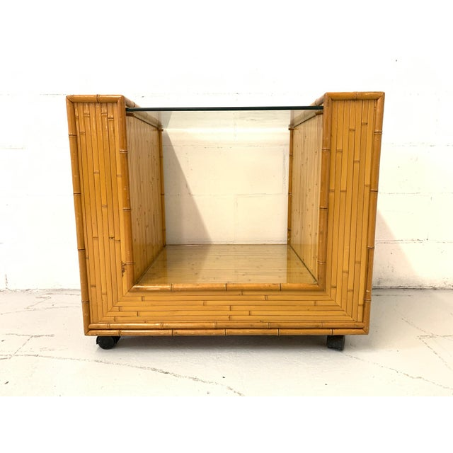 Mid Century Split Reed Rattan Bar Cart For Sale In Jacksonville, FL - Image 6 of 9
