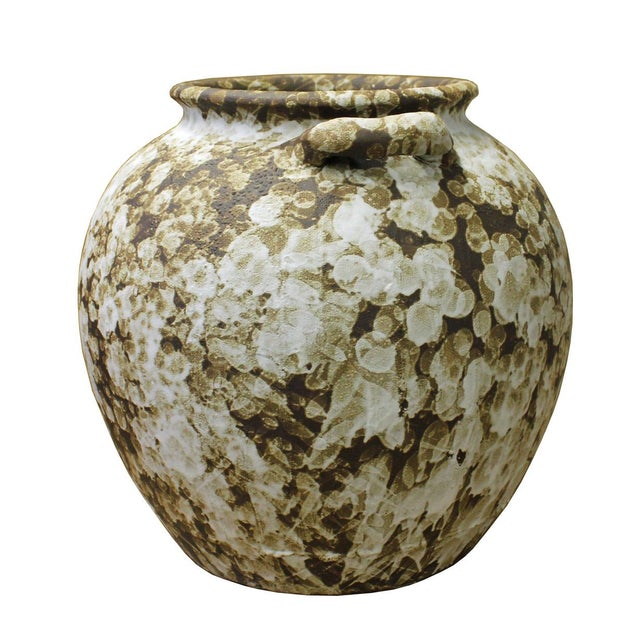 This is a handmade Chinese oriental modern ceramic vase pot with brown base color and off white splash marks pattern. Not...
