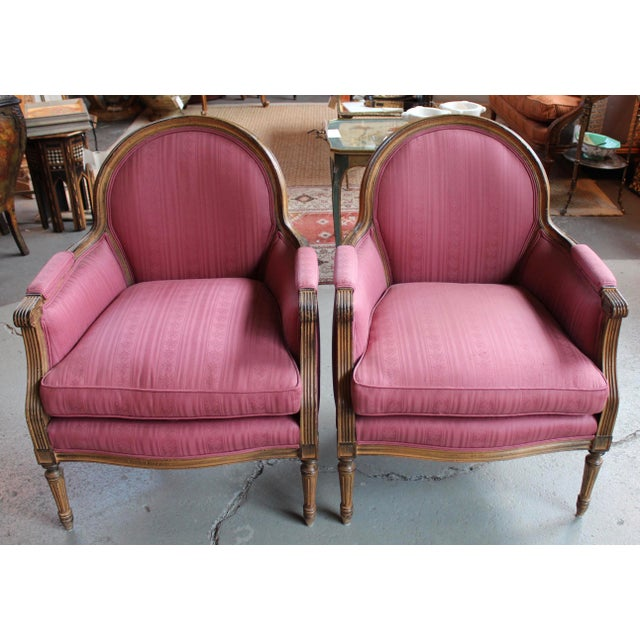 Vintage French Louis XVI Style Bergeres - Pair - Image 2 of 8