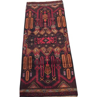 """Vintage Orange and Red Persian Rug - 2"""" x 5"""" For Sale"""