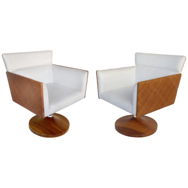 Saccaro Brazilian Caned Swivel Chairs With Wood Bases - a Pair For Sale - Image 13 of 13