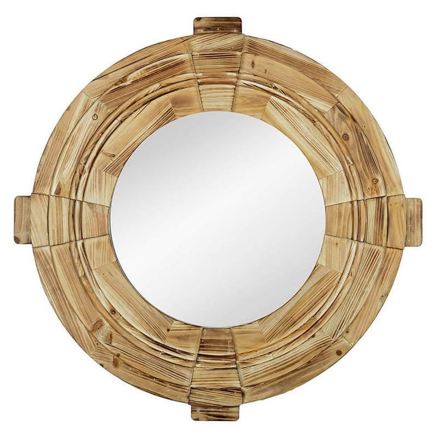 Rustic Wood Framed Round Inman Mirror For Sale - Image 4 of 4