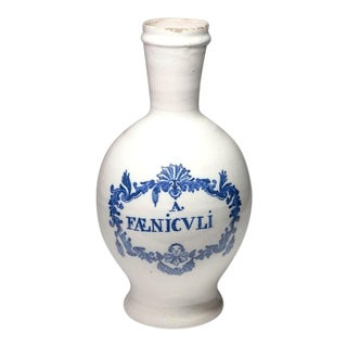 "18th C. Delft Blue & White ""Faenicvli"" Tin Glaze Jar For Sale"