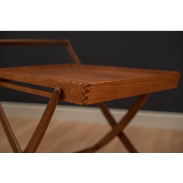 Mid-Century Modern Danish Modern Teak Folding Bar Cart For Sale - Image 3 of 10