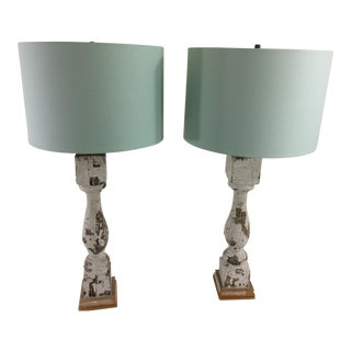 Architectural Salvaged Balustrade Table Lamps - A Pair