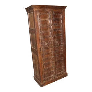 1920s Antique Indian Hand Carved Armoire