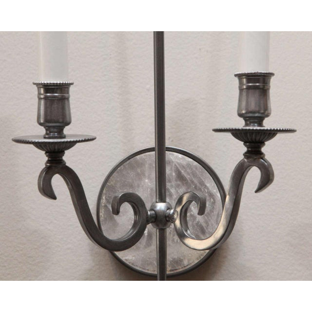 Pewter and Rock Crystal Sconces - Image 3 of 9