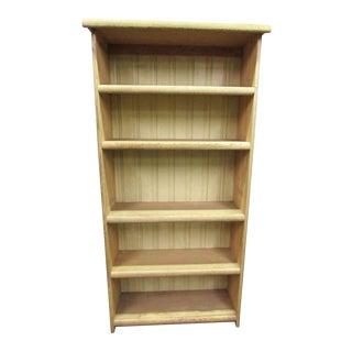 Pickled Oak Five Shelf Bookcase For Sale