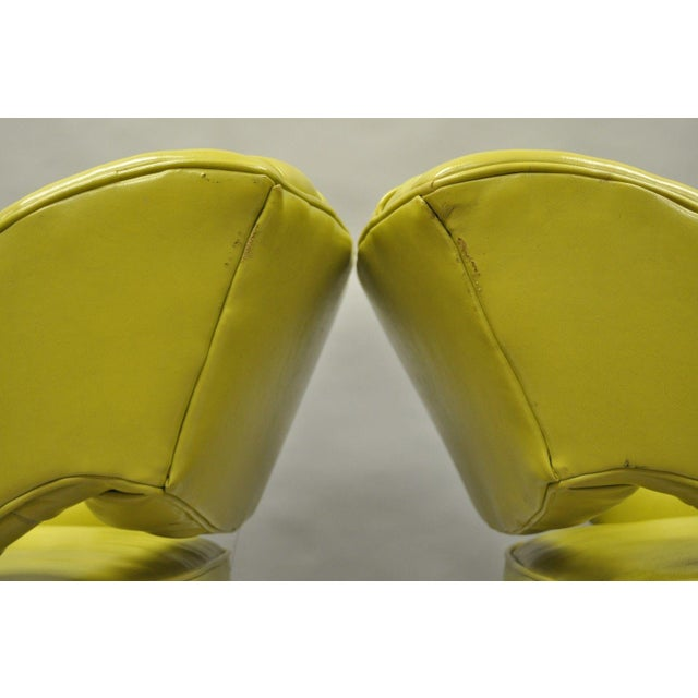 Pair Silver Craft Green Yellow Swivel Club Lounge Chairs Mid Century Modern A For Sale - Image 9 of 12