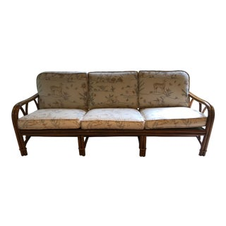 1980s Vintage Ficks Reed 3-Cushion Rattan Sofa For Sale