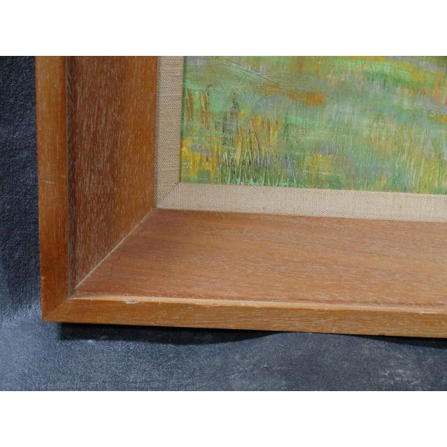1930s Dan Burgess Landscape Painting With Bridge For Sale - Image 9 of 11