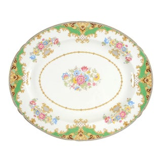 "Shelley Sheraton Green 14"" Oval Serving Platter For Sale"