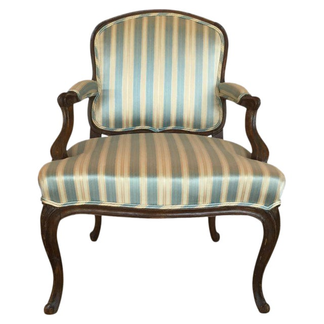 18th C. Louis XV French Walnut Armchair For Sale