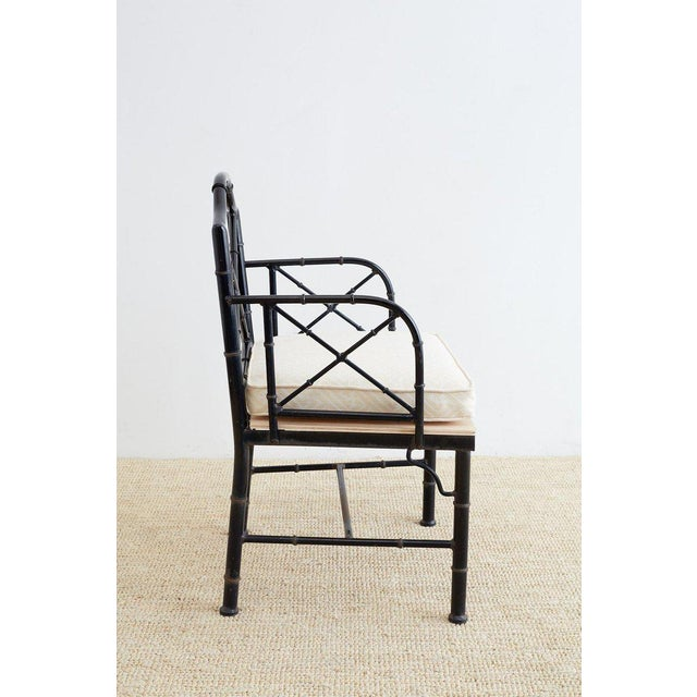 Chinese Chippendale Faux Bamboo Iron Garden Chairs For Sale - Image 4 of 13