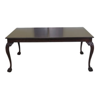 1990s Chippendale Stickley Clawfoot Mahogany Dining Room Table For Sale