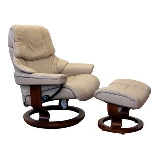 Ekornes Stressless Reno Tan Leather Large Recliner With Ottoman For Sale
