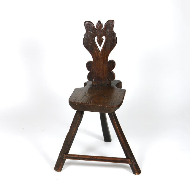 Brown A Rustic Carved Oak Tyrolean Three Legged Chair; Austria Circa 1680 For Sale - Image 8 of 13