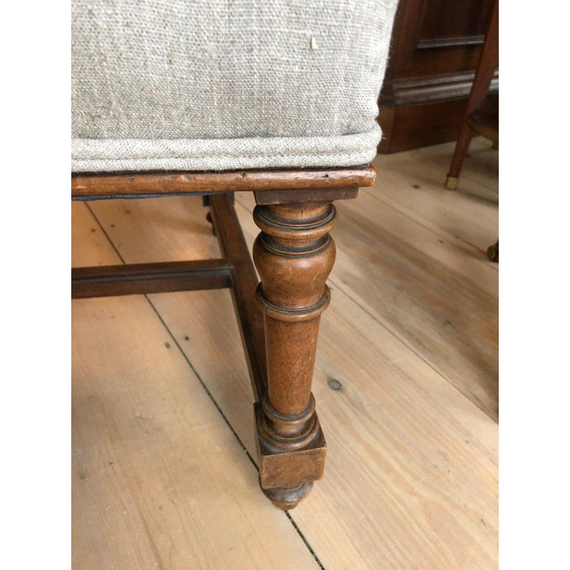 Handsome Carved Walnut and Linen Armchair For Sale In Philadelphia - Image 6 of 10