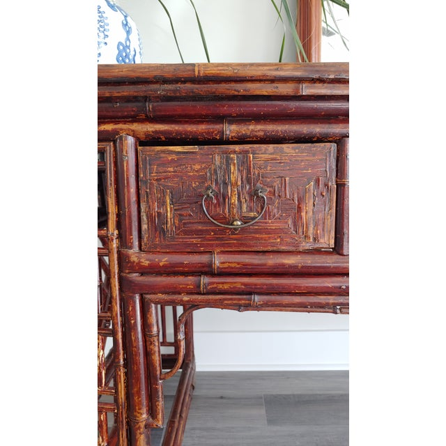 Antique Chinese Chippendale Frettwork Altar Console Table For Sale - Image 11 of 13