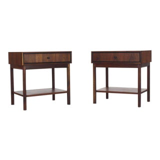 Pair of Oiled Walnut One Drawer Nightstands Tables For Sale