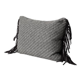 Espresso Leather Fringe Wool Pillow For Sale