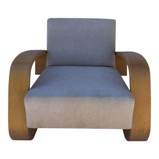 1980s Vintage Alvar Aalto Cream Model 400 Tank Chair For Sale